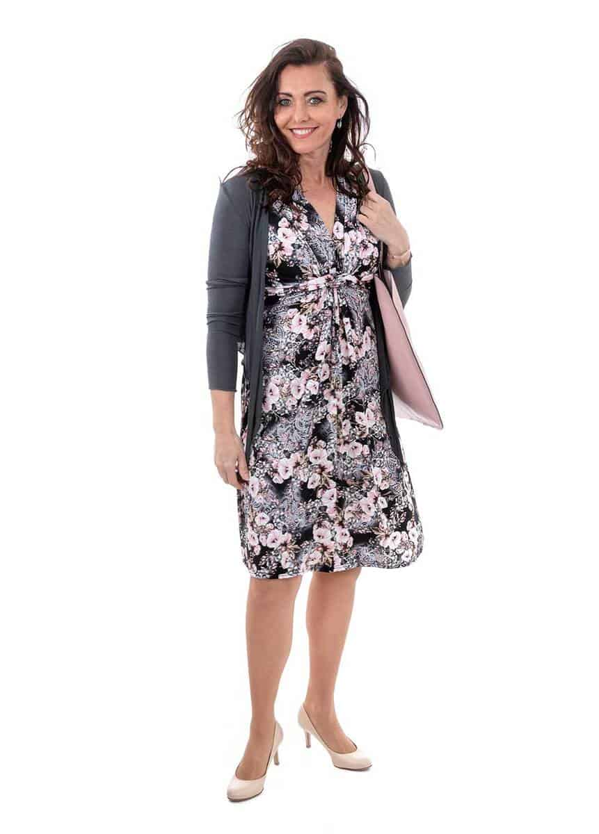 Adult office woman wearing floral dress