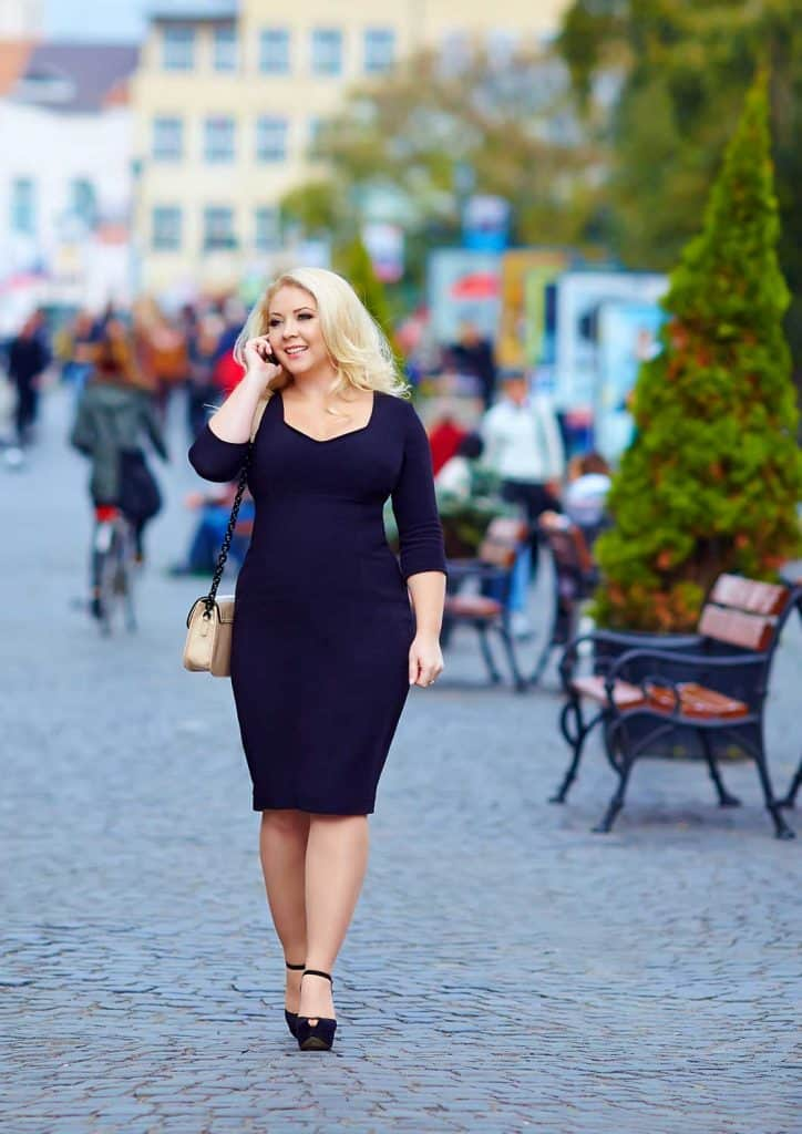 A fuller size figure is shown off in this bodycon dress