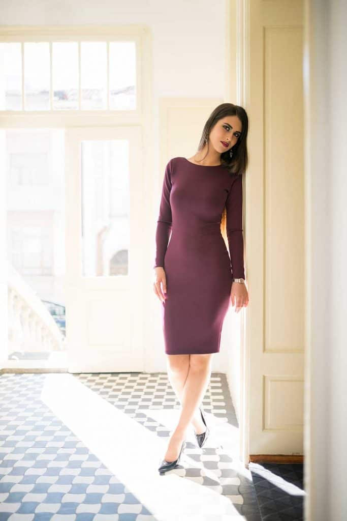 Plum long sleeve bodycon dress
