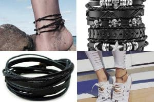 10 Awesome Black Leather Anklets You Should Check Out