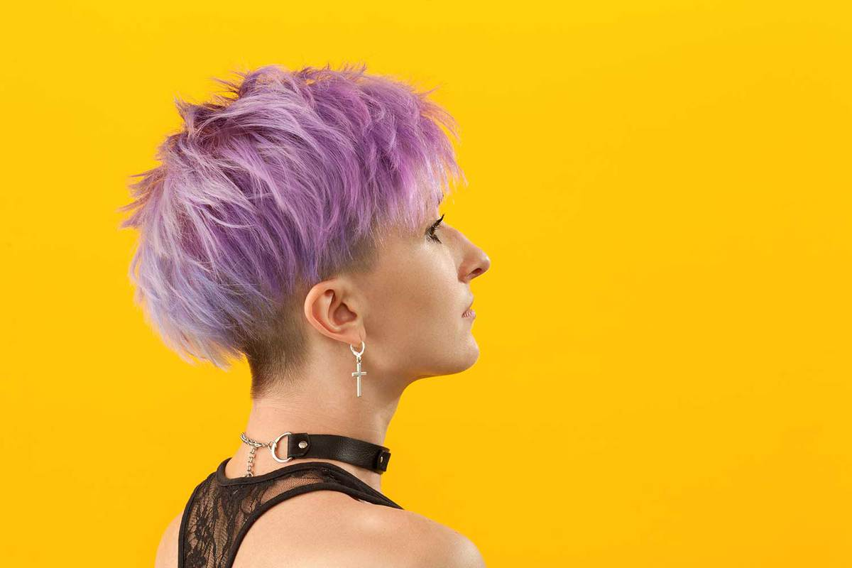 Woman with purple short hair