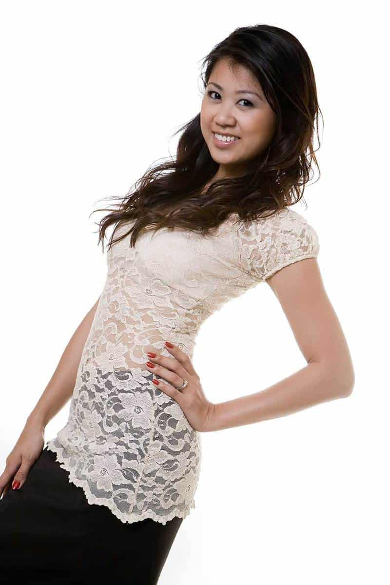 Beautiful young woman wearing short sleeved blouse