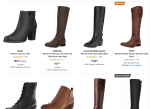 Amazon page for leather boots