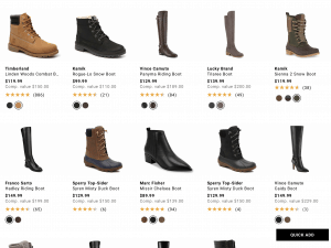 Designer shoe warehouse page for leather boots