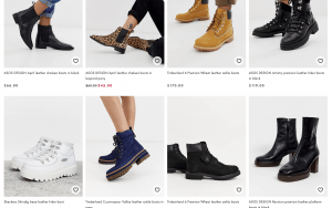 ASOS page for leather boots