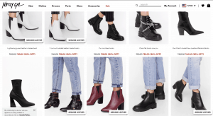 Nasty Gal page for leather boots