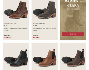 Red wing shoes page for leather boots
