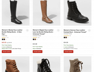 Target page for leather boots