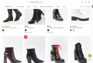 Forever 21 page for leather boots