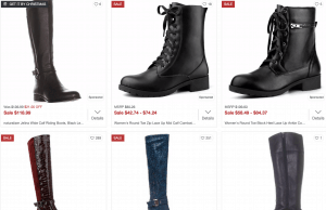 Overstock page for leather boots