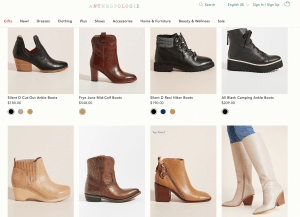 Anthropologie page for leather boots
