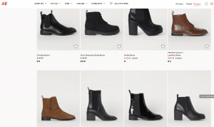 H&M page for leather boots
