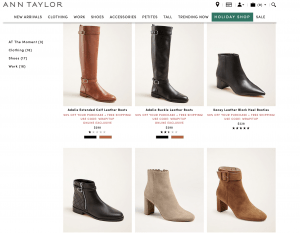 Ann Taylor page for leather boots