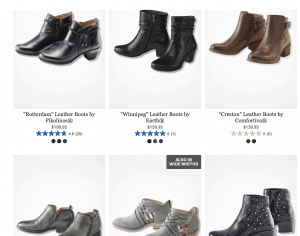 Coldwater Creek page for leather boots