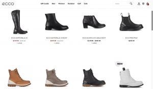 Ecco page for leather boots