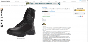 Amazon page for combat boots