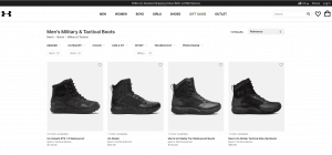 Under Armour page for combat boots