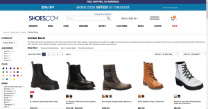 Shoes.com page for combat boots