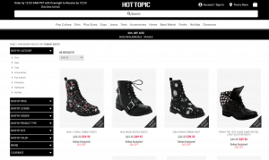 Hot Topic page for combat boots