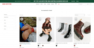 Urban Outfitters page for combat boots