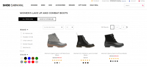 Shoe Carnival page for combat boots
