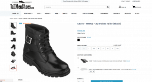 Tall Men's Shoes page for combat boots