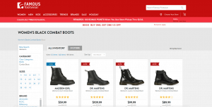 Famous Footwear page for combat boots