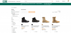 Dick's Sporting Goods page for combat boots