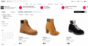 DSW Designer Shoe Warehouse page for combat boots
