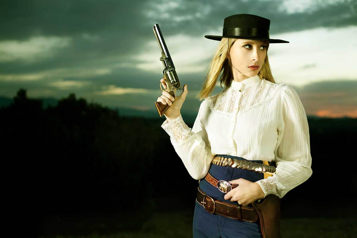 Young woman wearing vintage lace top in western fashion