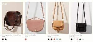 Anthropologie page for crossbody bags