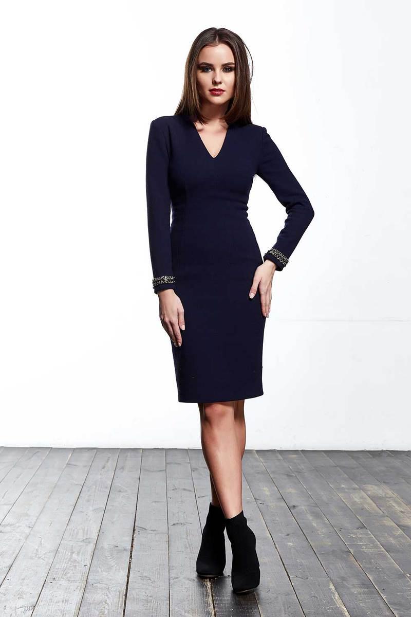 Beautiful sexy lady wearing fashion designer blue dress and black boots