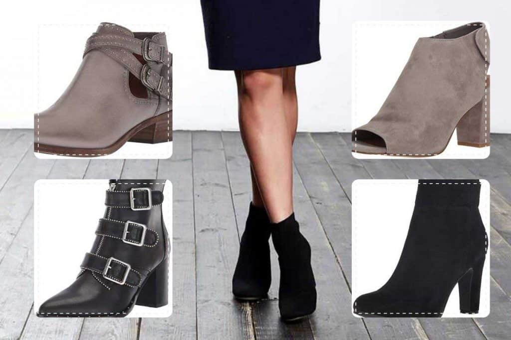 Collage of ankle boots with background of a woman wearing blue dress and black boots, Can You Wear Ankle Boots With a Dress?