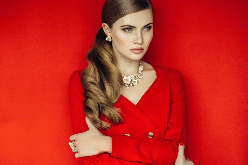Fierce woman in red dress