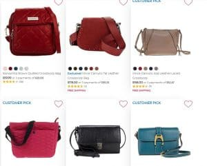 HSN page for crossbody bags
