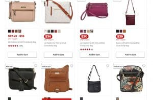 JCPenney page for crossbody bags