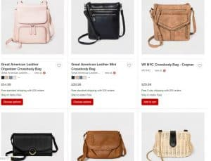 Target page for crossbody bags