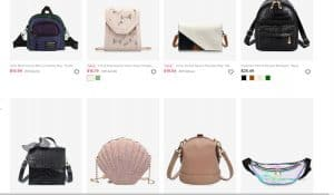 Zaful page for crossbody bags