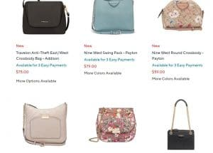 QVC page for crossbody bags