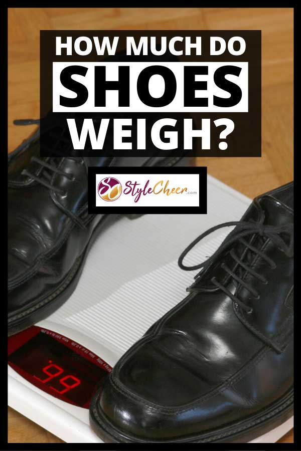 A pair of black shoes on a weighing scale