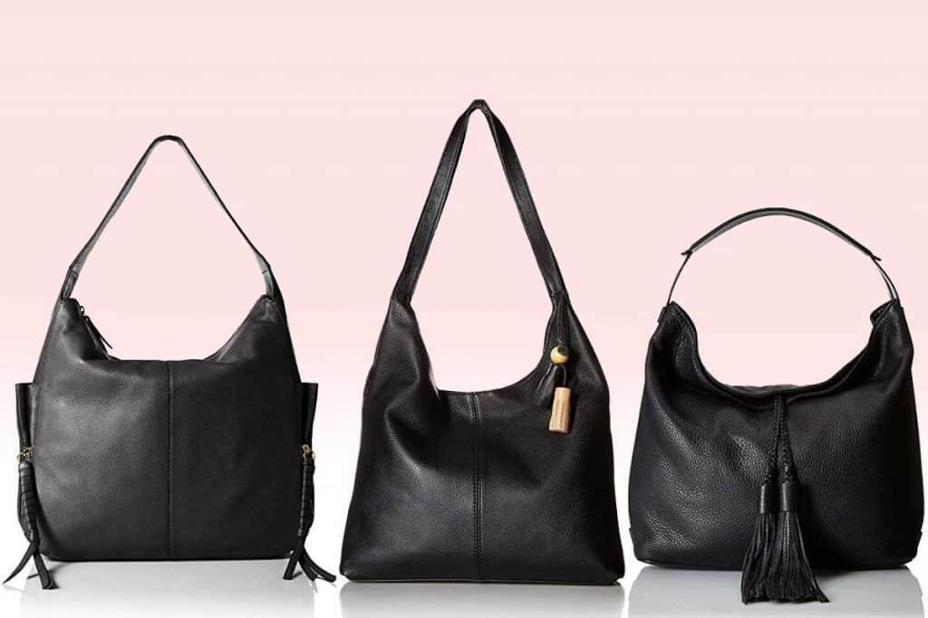 Classy black leather hobo handbags