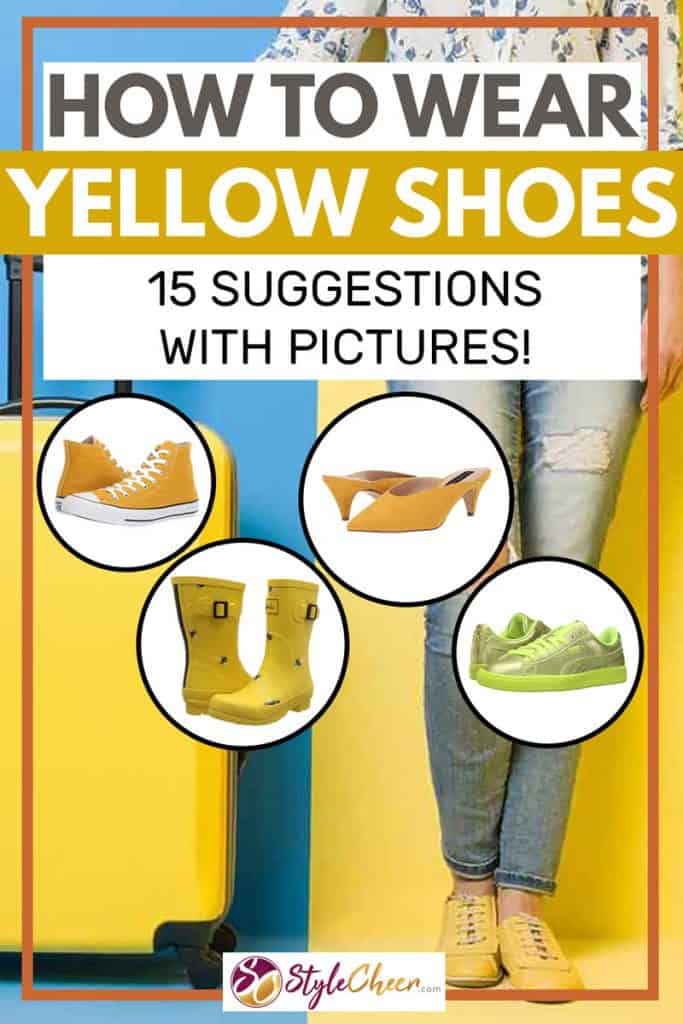 Woman on jeans and yellow shoes stands beside suitcase on colored background, How to Wear Yellow Shoes [15 Suggestions with Pictures!]