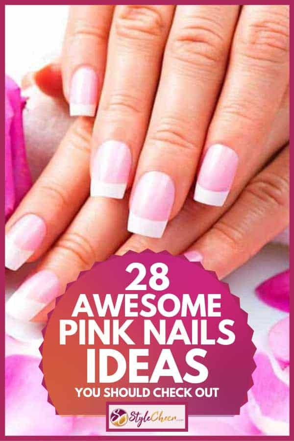 Stylish pink manicure with pink rose petals, 28 AWESOME Pink Nails Ideas you should check out