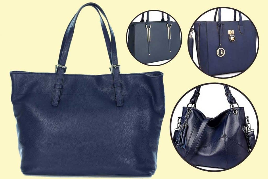Collage of navy blue handbags on yellow background, How To Wear a Navy Blue Handbag?