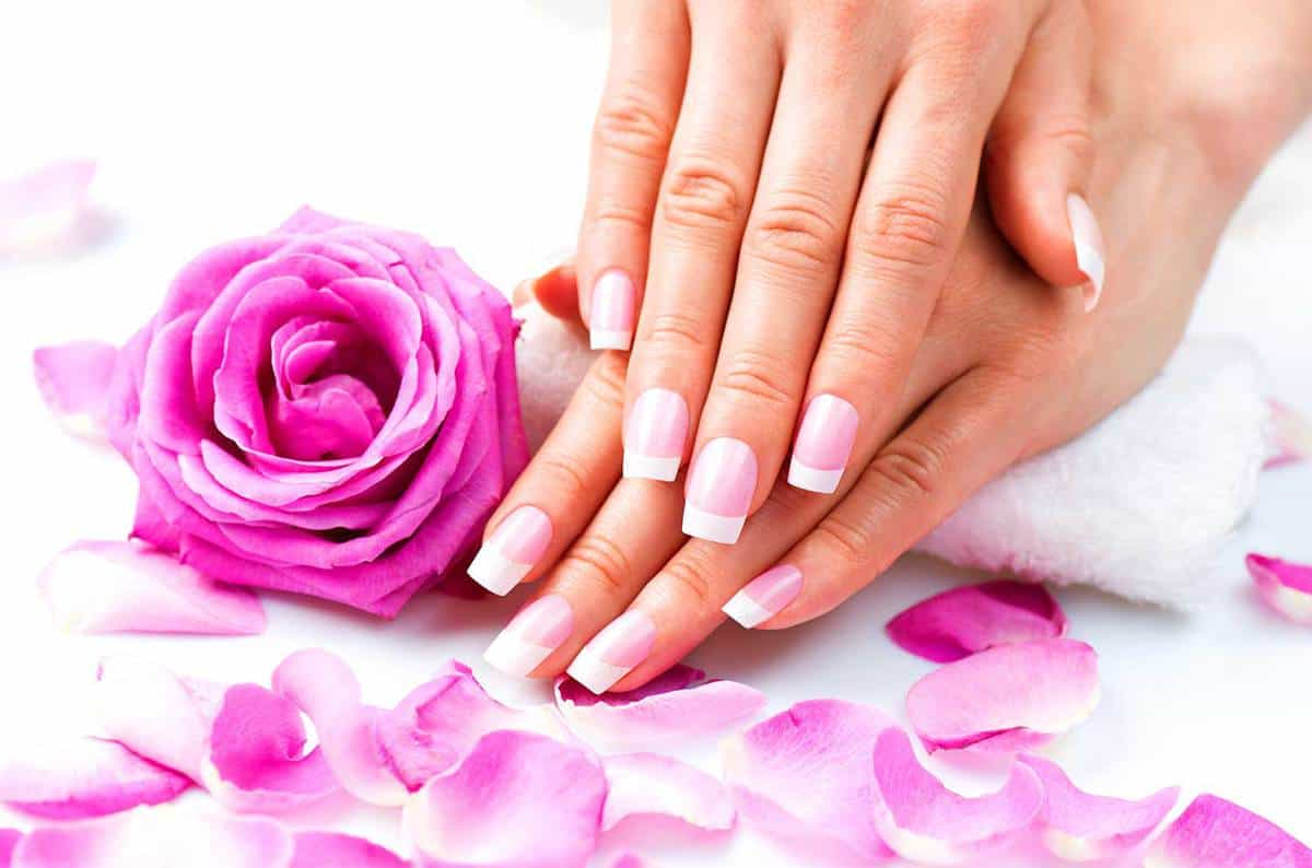 Pink manicure with pink rose and petals