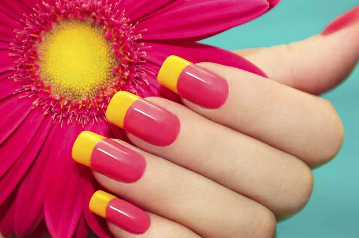 Two-tone manicure pink and yellow