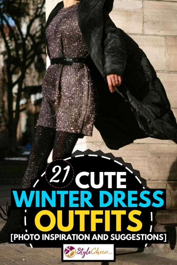 Elegant young woman wearing a dress in a winter day, 21 Cute Winter Dress Outfits [Photo Inspiration and Suggestions]