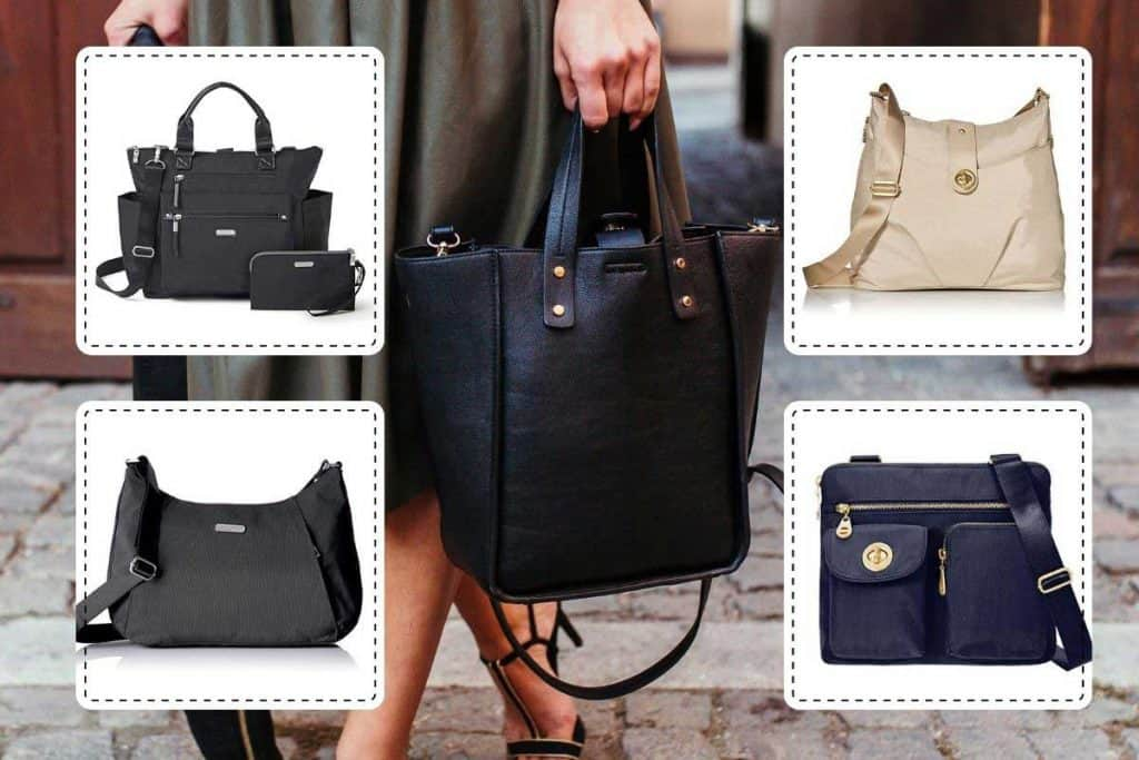 A collage of Baggallini handbags with a woman on the background holding a black handbag, 14 Gorgeous Baggallini Handbags You Should Check Out