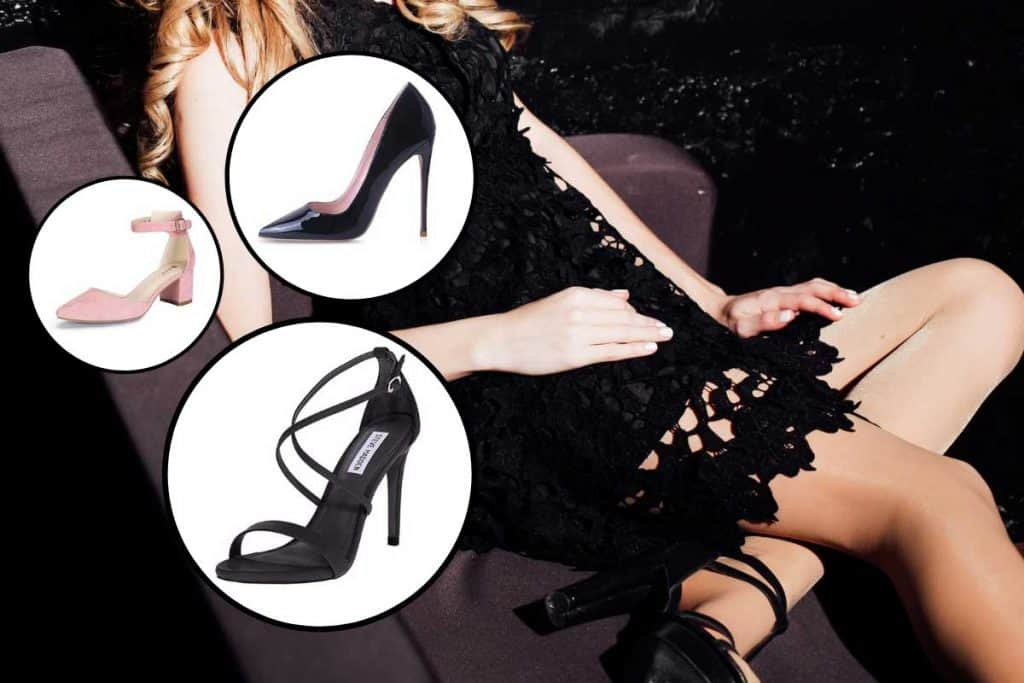 Collage of evening shoes with woman wearing black dress and evening shoes on the background, What Evening Shoes Go With a Black Dress?