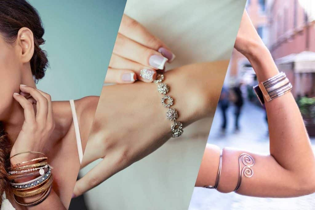 Collage of women wearing bangle, bracelet and cuff, Bangle vs Bracelet vs Cuff - What Are the Differences?